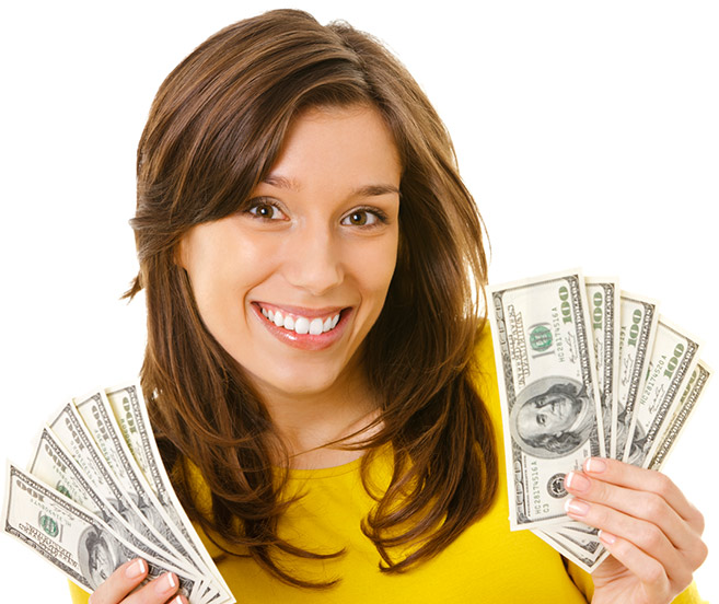 Picture of a happy woman holding money in her hands